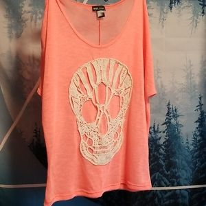 Lace skull , coral lightweight top, very cool!